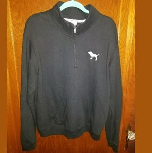 PINK Victoria's Secret Black 1/4 Zip Sweatshirt L